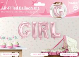 Ballonnenkit Girl roze (luchtgevuld) 36cm