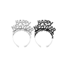 Diadeem Happy New Year zwart & zilver