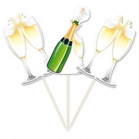 Prikkers Champagnefles & glas / 10st.