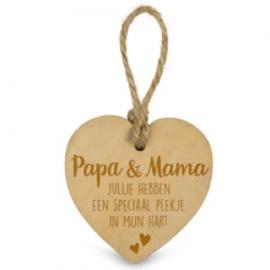 Houten hartje - Papa en mama