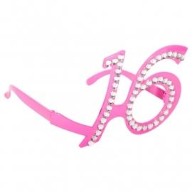 Bril 16 jaar Roze Diamantframe