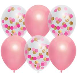 Ballonnen mix confeti/metallic roze 6st.