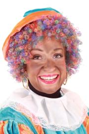Pruik Piet kroes regenboog verstelbaar