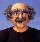 Masker rubber opa zwart/grijs haar