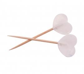 Prikkers witte hartjes 6,5cm/50st.