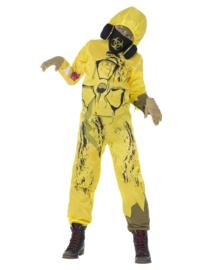 Jumpsuit Toxic geel met gasmasker mt. M (130-143)