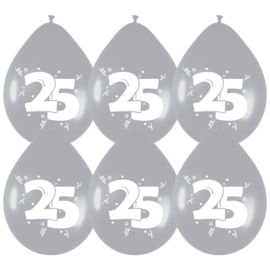 Ballonnen 8st. cijfer 25 zilver metallic