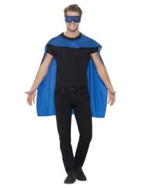 Cape superheld met masker blauw