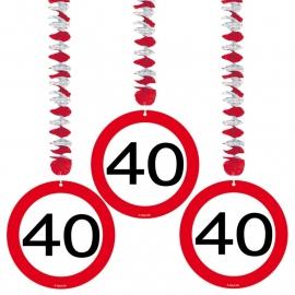 Hangdecoratie Verkeersbord 40/3stk