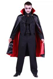 Cape Dracula met staande kraag, zwart/rood 110cm