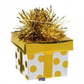 Ballon gewicht gift box gold dots