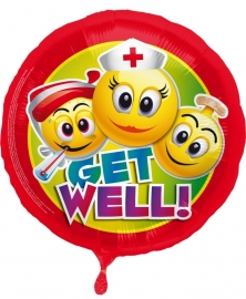 Folieballon Emoticon Get Well Verpakt
