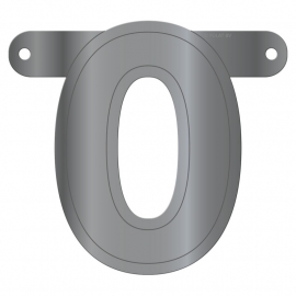 Banner Letter 0 Metallic Silver