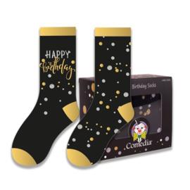Sokken goud/zwart Happy Birthday (2 paar)