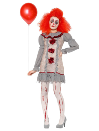 Clown Vintage dame grijs/rood mt. L