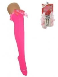Britney kousen met strik fluor pink