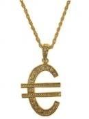 Collier euroteken groot goud