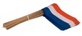 Vlaggetje op stok papier Nederland r/w/b