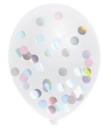 Ballonnen met confetti holographic  5st.