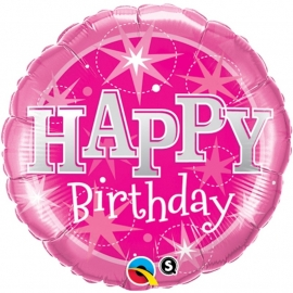 Folieballon Bday pink sparkle