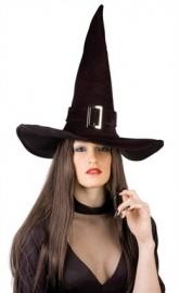 Heksenhoed zwart met gesp mt.61