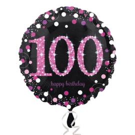 Folieballon 100 Birthday sparkling celeb. pink