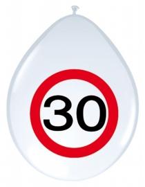 Ballonnen 8st. Verkeersbord 30