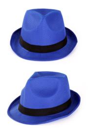 Gleufhoedje blauw met zwarte band