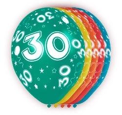 Ballonnen 5st. 30 jaar HE 30cm