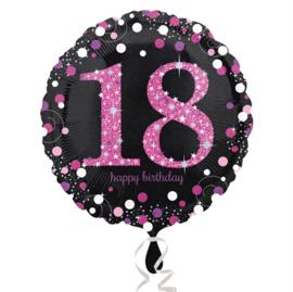 Folieballon 18 Birthday sparkling celeb. pink
