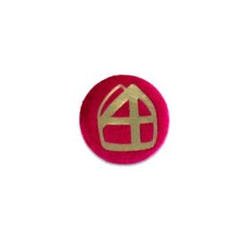 Button met mijter rood