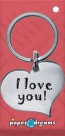 Hart sleutelhanger - I love you
