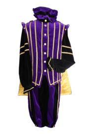 Piet fluweel luxe + cape Marbella mt.XXL paars/zw