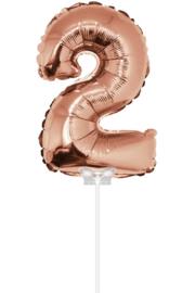 Folieballon 40cm rosé goud 2 (met stokje)