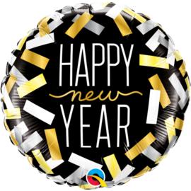 Folieballon Happy New Year confetti zwart
