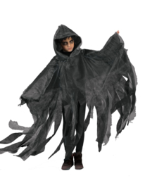 Cape Ghoul grey met capuchon one size