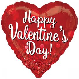Folieballon Happy Valentine's day sparkle 71cm