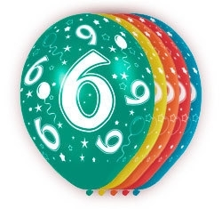 Ballonnen 5st.  6 jaar HE 30cm