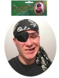 Piraten hoofddoek zwart met doodskoppen
