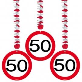 Hangdecoratie Verkeersbord 50/3stk