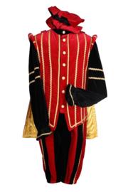 Piet fluweel luxe + cape Marbella mt.L rood/zwart