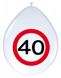 Ballonnen 8st. Verkeersbord 40