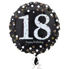 Folieballon 18 Birthday sparkling celeb. silver