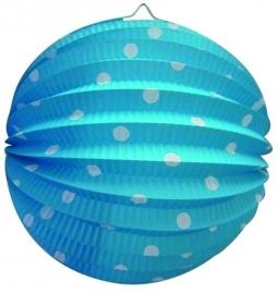 Lampion rond blauw+witte stippen 23cm