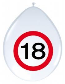 Ballonnen 8st. Verkeersbord 18