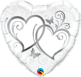 Folieballon Entwined hearts silver
