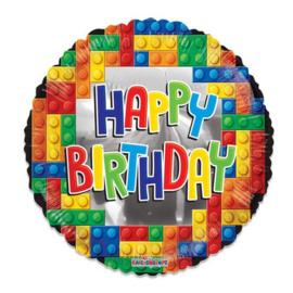 Folieballon Happy Birthday lego (46cm)