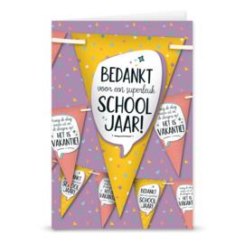 Wenskaart+vlaggenlijn-Bedankt schooljaar OP=OP