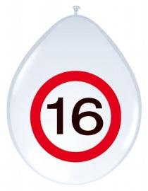Ballonnen 8st. Verkeersbord 16