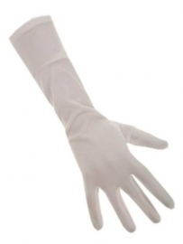 Handschoenen stretch wit luxe nylon 45 cm XL